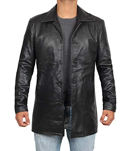 (fjackets Black Leather Jacket Men - Real Lambskin Leather Car Coat - Genuine Mens Leather Jacket | [1500045], Supernatural Black XL)