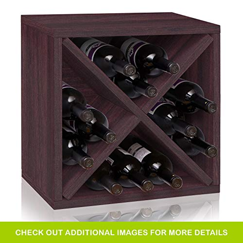Way Basics Stackable 12-Bottle Tabletop Wine Rack Cube Storage, Espresso