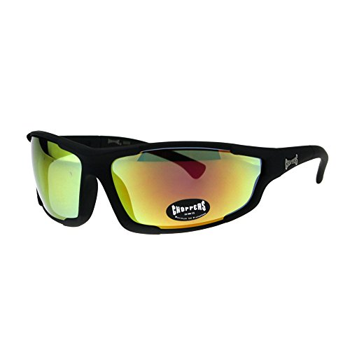 Choppers Mens Biker Motorcycle Riding Plastic Sport Sunglasses Black Orange ()