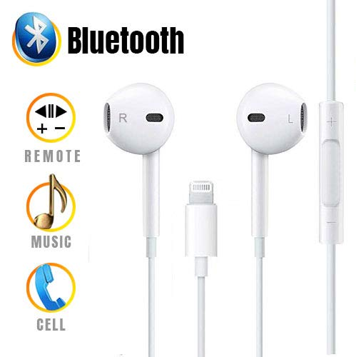 Earphones, Headphones with Microphone and Noise Isolating Headset Made Compatible iPhone X/10 iPhone8/8 Plus and iPhone7/7 Plus Earbuds Earphones (Bluetooth Connectivity) by Fitquipment