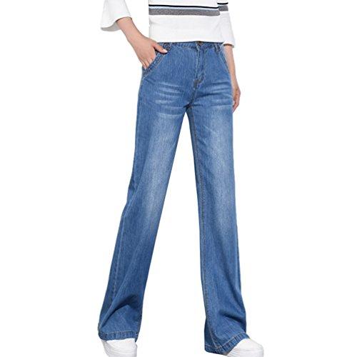 Estiramiento Talla Mujeres Mezclilla Sin de Ancha Pierna Azul Extra de Evasé Tookang Delgado Vaqueros Casuales Pantalones 6Uq0a