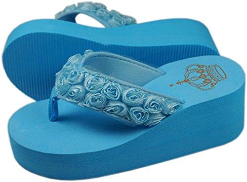 Bettyhome Kvinnor Mode Badskor Avslappnade Blomma Ros Kilar Sandaler Strand Flip Flops Tofflor Blå
