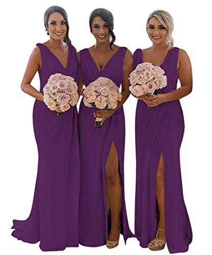 MARSEN Slit Bridesmaid Dresses Long V-Neck Chiffon Pleated Beach Wedding Party Dress 2019 Grape Size -