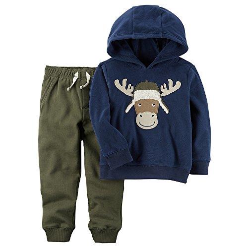 Carters Moose - Carter's Carters Toddler Boy 2-pc. Moose Pullover Hoodie and Fleece Pants Set (3T) blue, green