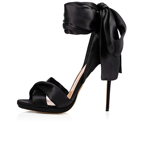 GONGFF Sandales En Tissu Haute Qualité Sandales Européennes Et Américaines De Chaussures De Mode Chaussures À Talons Hauts Fabriqués À La Main Black TkmZKa0F