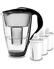 PearlCo - Glas Waterfilter (zwart) met 3 universal classic filterpatronen - past bij Brita universal classic