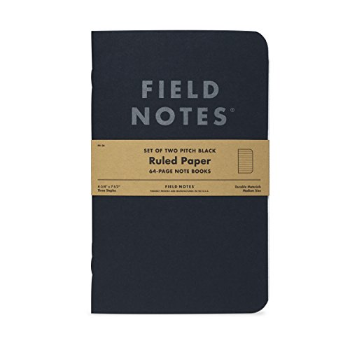 "Pitch Black Ruled Note Book 2-Pack (4-3/4"" × 7-1/2"")"