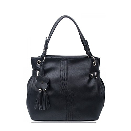 Black Bag Shoulder Women's Her Bag Bags CW16001 Tote Faux LeahWard® Shoulder Soft Leather Handbags For Sa7wq6T