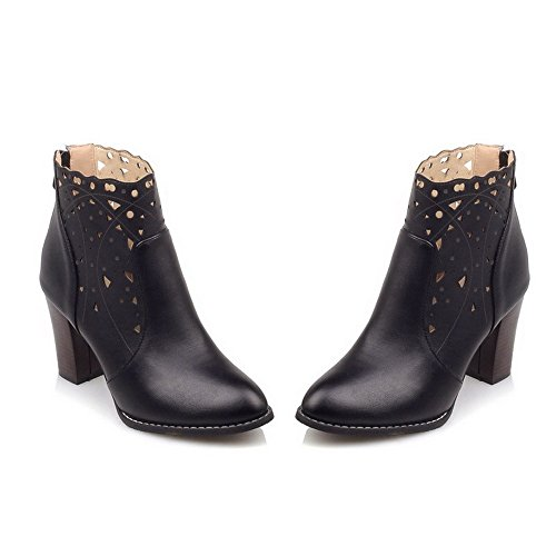 Black WeiPoot PU Closed Zipper High Boots Toe Women's Pointed Solid Heels vwr4T0vq