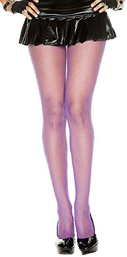 One Size Basic Nylon Seamless Fishnet Pantyhose Purple