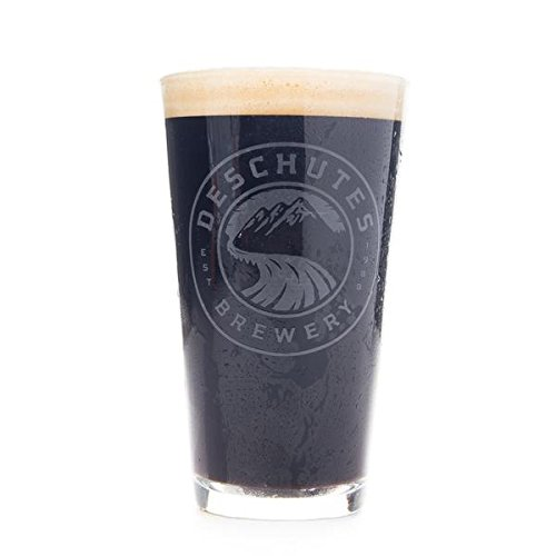 Deschutes Brewery White Satin Logo Pint Glass (Brewery Beer Glasses)