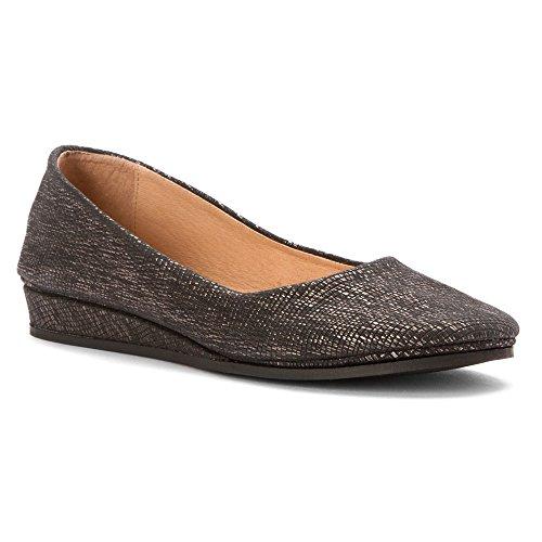 Shoes Lizard Womens on Slip French Sole Black Zeppa Metallic aXzqU6nU