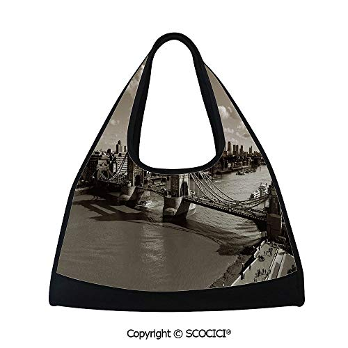 - Table tennis bag,Tower Bridge in London Cloudy Sky Old Historic Cityscape Nostalgia England Decorative,Bag for Women and Men(18.5x6.7x20 in) Sepia White