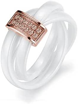 FAPPAC 18k Rose Gold Plated Interlocked Ceramic Bars Ring Bands Enriched with Swarovski Crystals