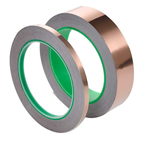 2 in 1 Copper Foil Tape (1inch X 66 FT and 0.25inch X 66 FT) with Conductive Adhesive for Guitar & EMI Shielding, Crafts, ()