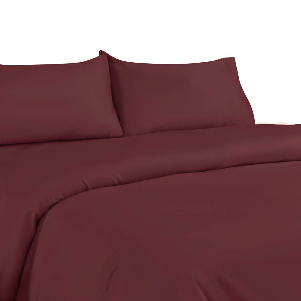 NIM Textile Luxury 1600 TC Softness 3pc Duvet Cover Sets MILANO Collection - Burgundy, Full/Queen