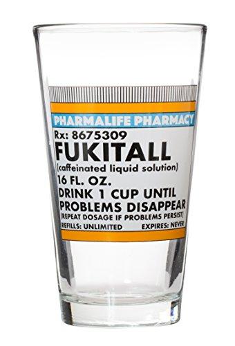 Fukitall - Caffeinated Liquid Solution - Choice of Funny Large 15 Oz Mug or Pint Glass (Glass) -