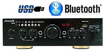 Amplificador Karaoke Bluetooth 100W + 100W Músicales Audibax Miami. Entrada 2 Micrófonos con volumen de