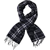 STYLATHON Men's Thermal Knitted Vintage Contrast Color Long Scarf Muffler (Black, Free Size)