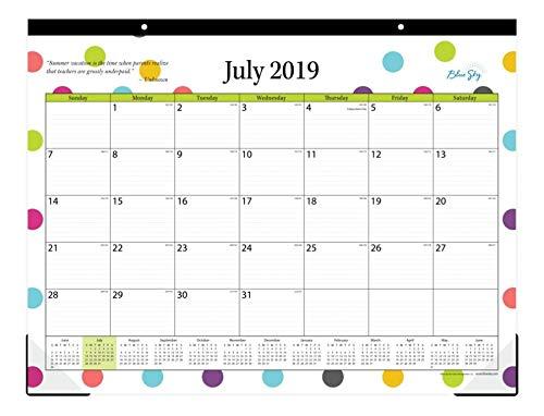 Blue Sky 2019-2020 Academic Year 105496-A20 Teachers Monthly Desk Pad Calendar, Ruled Blocks, 22