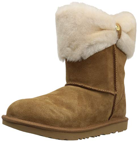 (UGG Girls' K Ramona Classic Short II Fashion Boot, Chestnut, 6 M US Big Kid)