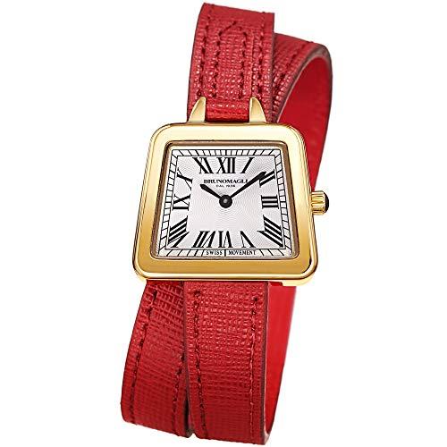 Bruno Magli Women's Emma Swiss Quartz Italian Leather Double Wrap Strap Watch (Red) ()