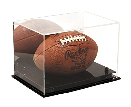 Deluxe Acrylic Football Display Case with Black Risers and Mirror (Black Acrylic Football Display Case)