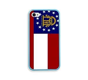 Georgia Flags Aqua Silicon Bumper iPhone 4 Case Fits iPhone 4 & iPhone 4S