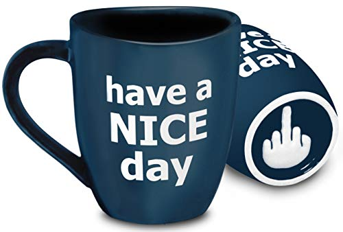 Decodyne Have a Nice Day Coffee Mug, Funny Cup with Middle Finger on the Bottom 14 oz. -