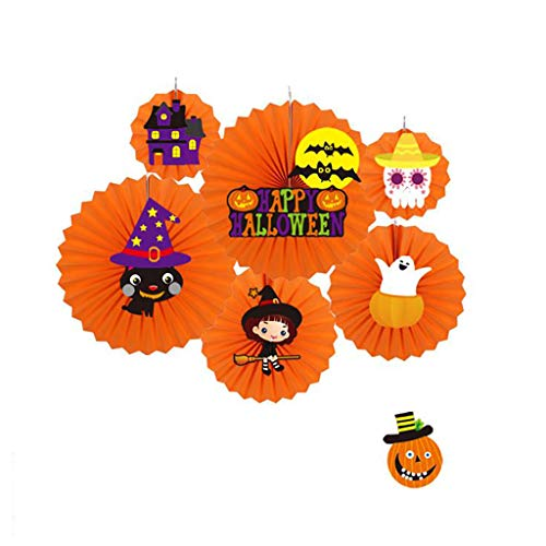 Shan-S Halloween Paper Fan Suit,Halloween Decorative Wall Decoration DIY Ceiling Hanging Paper Fans Flower,Smile Pumpkin Party Banner,Bat Decor Party Halloween Supplies