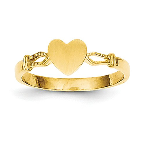 (Baby and Children 14K Yellow Gold Signet Heart Ring)
