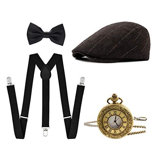 Ziyoot Men's 1920s Accessories Gatsby Gangster Costume Set Gangster Beret Y-Back ()