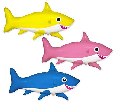 Frenzy Foil - MONKEYDOG PARTY 3 New FOIL Balloons Pink, Yellow, Blue Sharks Happy Baby Shower Birthday Any Occasion Frenzy Fishing