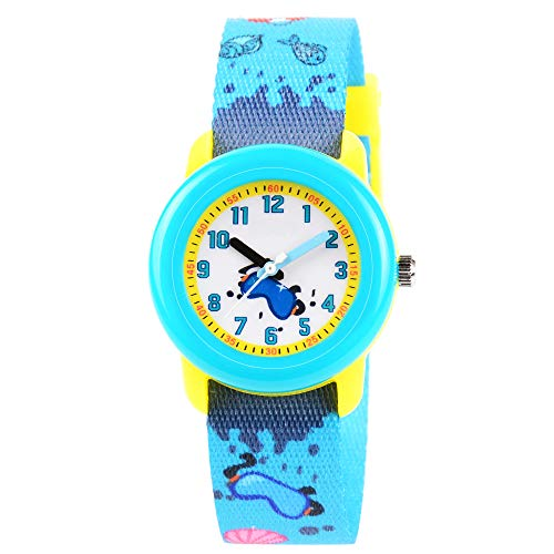 Venhoo Kids Watches Cute Cartoon Waterproof Sport Braided Strap Children Toddler Wrist Watch Time Teacher Birthday Gift 3-10 Year Girls Little Child-Beach
