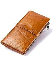 Carteira de couro legítimo TENDYCOCO com vários compartimentos para cartões, marrom dobrável