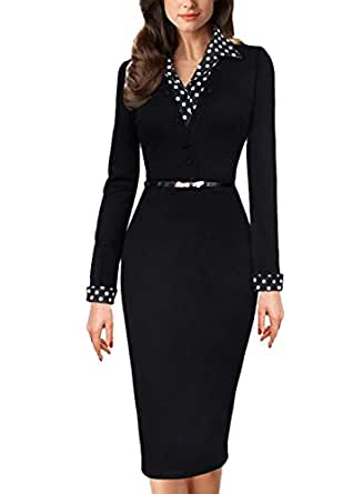 Meikeer Womens Vintage Black Polka Dot Collared Business Party Pencil Dress, Black, XX-Large
