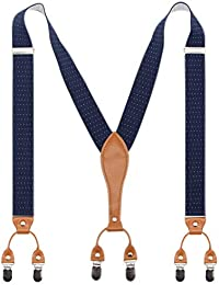 Mens Suspender Wide Leather 6 Metal Clips Adjustable Straps Y Shape By Timiot