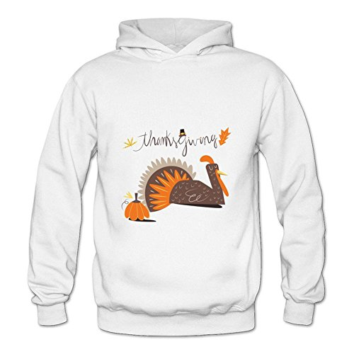 HOODY COLOR Women's Thanksgiving holiday cartoon turkey pumpkin Pullover Hoodies White -
