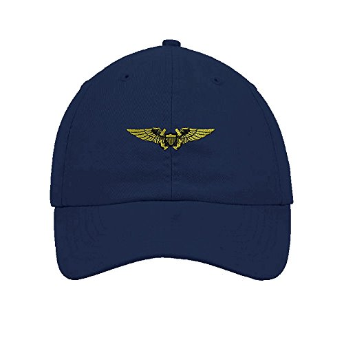 Speedy Pros Naval Flight Officer Military Embroidery Twill Cotton 6 Panel Low Profile Hat (Navy Officer Cap)
