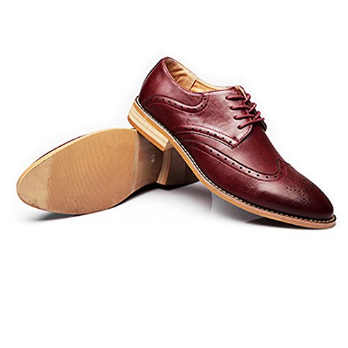 Brogue Matte Color Wingtip amp;Baby Vera EU lacci Brown all'abrasione Dimensione Resistente imbottiti Traspirante Scarpe con Sunny da Carving Wine pelle uomo Business 38 Hollow EYEUqnw