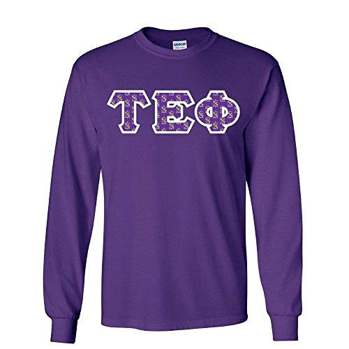 (Tau Epsilon Phi Fraternity Crest Twill Letter Longsleeve Tee Medium Purple)