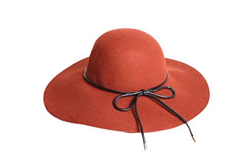 Liveinu Women's Wool Felt Hat Wide Brim Floppy Fedora Hat With Bowknot Orange by Liveinu