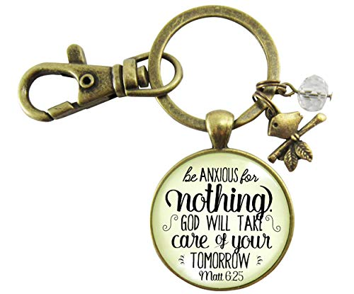 Christian Keychain Be Anxious for Nothing Do Not Fear Bronze Key Ring Bird Charm