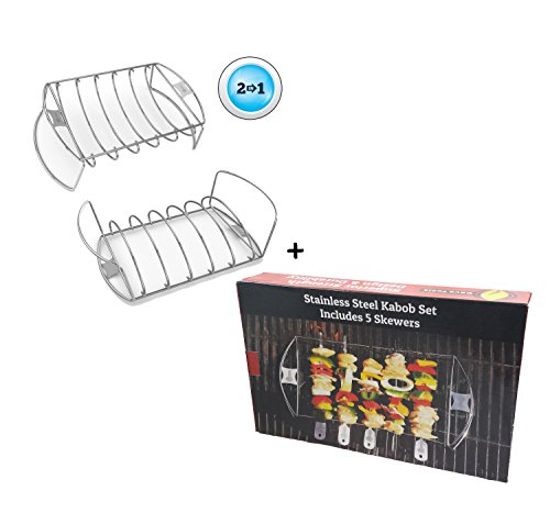 Rib Roast Rack + Barbecue Skewer Shish Kabob Set - BBQ Kebab Rack Maker for Meat & Vegetable - Portable Stainless Steel Kabab Stick for Cooking on Gas or Charcoal Grill