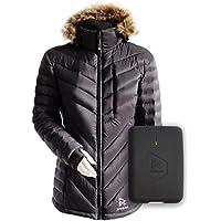 Ravean Women's Down Heated Jacket   Lightweight Water Resistant Jacket w/Mobile Charging Outlet Detachable Hood & Battery