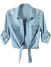 Women's Roll up Sleeves Crop Tie Top Denim Shawl Jeans Shirt