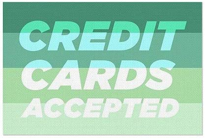 Credit Cards Accepted CGSignLab 30x20 Modern Gradient Perforated Window Decal 5-Pack