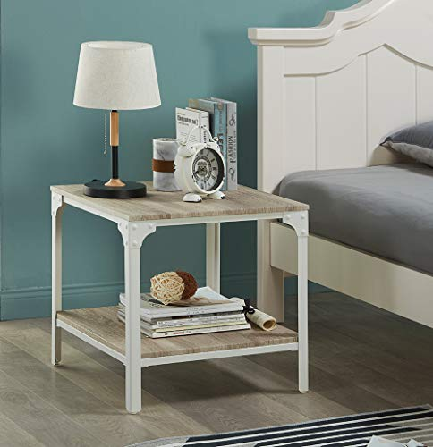 odern Home Style End Table, 2-Tier Square Accent Side Table with Storage Shelf for Living Room Office, Light Oak ()