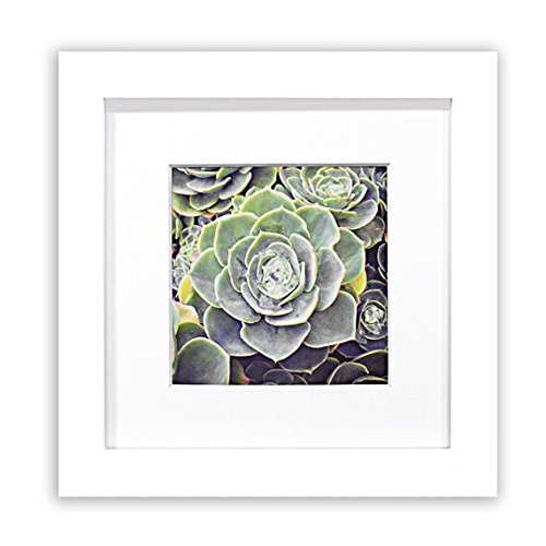 Golden State Art, Smartphone Instagram Frames Collection, 6x6-inch Square Photo Wood Frame with White Photo Mat & Real Glass for 4x4 Photo, ()