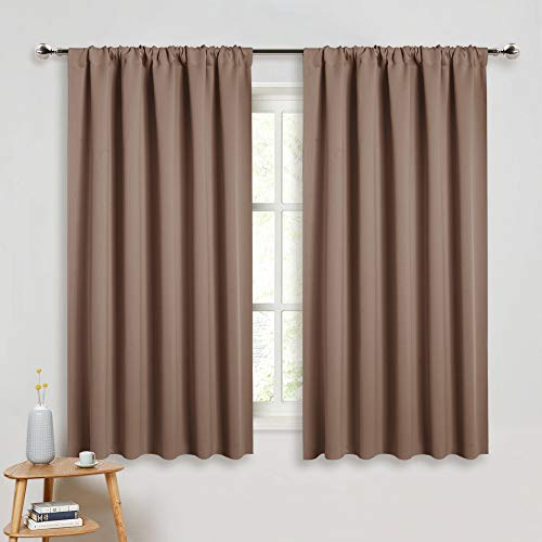PONY DANCE Blackout Curtains & Draperies - Black Out Window Curtain 2 Panels Home Decoration Thermal Insulated Curtain Light Block Drapes Privacy Protect, 52 by 54 inches, Mocha, Set of 2